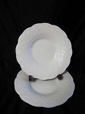 WEDGWOOD WW339 WHITE WITH EMBOSSED LATTICE & BEADS SALAD PLATES IN GOOD CONDITIO