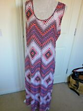 PEACOCKS JERSEY MULTICOLOURED PATTERNED MAXI  DRESS  UK 14 EXCELLENT CONDITION