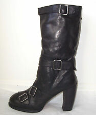ANNA SUI Black Leather Buckle Boots 39 9