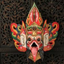 Vintage Bali Indonésien Masque Garuda polychrome sculture bois