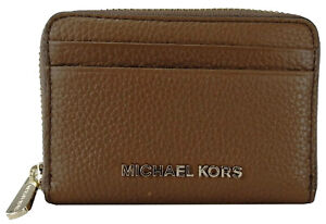 Michael Kors Small Purse Card Case Wallet Luggage Brown Pebbled Leather Womens