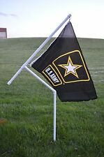 "New 1"" Heavy Duty PVC Flag Pole Kit with Army Strong Flag for Camping, RVing etc"
