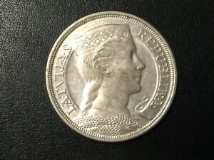 "1931 LATVIA 5 LATI SILVER ""CROWN SIZE"" COIN!"