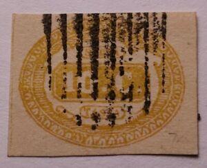 Italy Italia 1863 10c segnatasse arancio VFU.€325. Sass 1b. Margins as photos