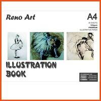 5 x RENO ART A4 ILLUSTRATION BOOK | 185gsm 40pg Art Design Pad Drawing Acid Free