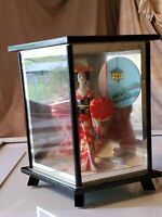 "Vintage 1950s japan geisha doll in glass display case Japanese 6"""