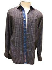 Robert Graham Long sleeve Button Down Shirt Blue & Brown Check Flip Cuff/ Collar