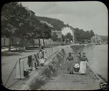 Glass Magic Lantern Slide BANKS OF THE MEUSE C1890 PHOTO BELGIUM ANSEREMME ?