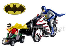 HOT WHEELS CMC85 ELITE 1966 BATCYCLE with SIDE CAR & BATMAN & ROBIN FIGURES 1/12