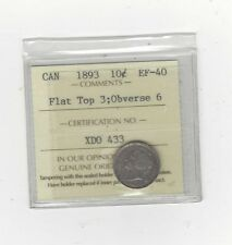 **1893 Flat Top 3: Obv#6**, ICCS Graded Canadian, Silver 10 Cent, **EF-40**