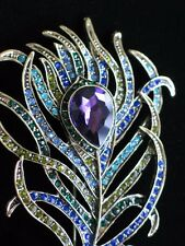NEW HEIDI DAUS GREEN PURPLE BLUE BIRD PEACOCK FEATHER PIN BROOCH JEWELRY 1 $169