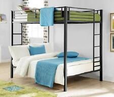 Full over Full Bunk Bed Metal - Black - Kids Bedroom Furniture Double Bunk