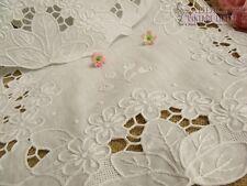 Vtg HAND Embroidered Drawnwork Table Runner Dresser Scarf  White-Flower SWEET 42