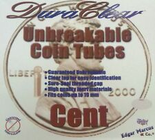 100 Duraclear Penny/Cent Coin Tubes New - Wheat storage