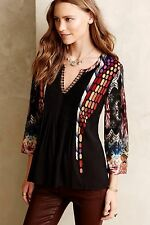 NEW Anthropologie Embroidered Spectral Peasant Top Blouse by Ranna Gill Size XSP