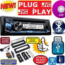 PLUG AND PLAY FITS 98-13 HARLEY JVC MARINE CD BLUETOOTH USB CD STEREO PKG OPT XM