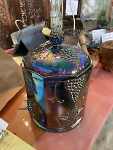 Indiana Blue Grape Harvest Carnival Glass Cookie Jar Canister Iridescent W/lid