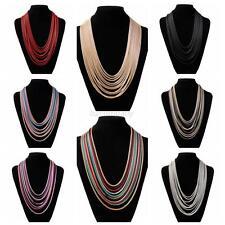 Fashion Women Multilayer Necklace Rope Choker Chunky Bib Statement Long Necklace