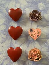 Vintage Button Covers Valentine's Day Red Hearts Antique Detail Roses Set of 6