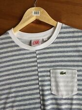 RRP £135 - LACOSTE Live! T-Shirt - Grey And White Striped - Size 3 - Small