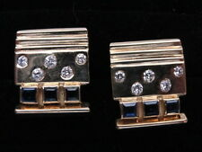 Elegant Estate 18K Gold Diamond & Sapphire Cufflinks by Designer Nancy Karpel