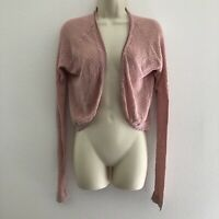 Rubbish large women's cardigan open front pink long sleeve lightweight thin knit