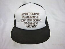 trucker hat baseball cap WIFE GOLFING CHOICE snapback cool mesh vintage 1980