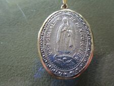 Mexico Silver 14k gold Bezel NSD Lady Guadalupe Medal 1804 Heavy 13gr Xmass GIFT