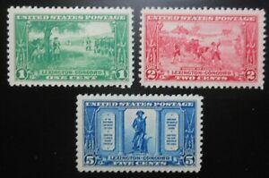 U.S.Stamps:Scott#617-619, 1c, 2c, & 5c, The Lexington-Concord anniv., 1925, OGNH