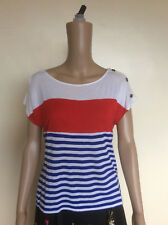 Women's Summer T-Shirt Top, Size 12, Red White & Blue Stripes, Nautical, Sailing