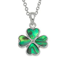 Four Leaf Clover Pendant with Green Paua Shell by Tide. Hypoallergenic. Boxed.