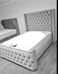 """Plush Velvet Royal WingBack Bed Frame with High 54"""" floorstanding Headboard"""