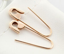 14k Rose Gold Safety Pin Earrings (PAIR) 1''long Handmade in USA