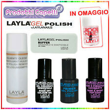 KIT LAYLA GEL POLISH SMALTO UNGHIE SEMIPERMANENTE PRIMER BASE BUFFER SOLVENTE