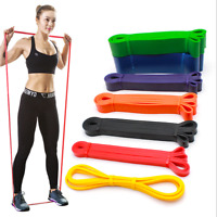 Resistance Loop Bands Strength Fitness Gym Exercise Yoga Workout Pull Up Elastic