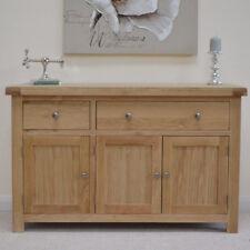 Oak Large Sideboard Light Oak 3 Door Cupboard / Solid Wood Storage Chunky Wellow
