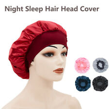 Adjust Women Satin Bonnet Cap Night Sleep Hair Head Cover Wide Band Elastic Hat