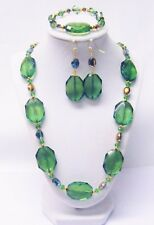 Crystal Faceted Green Acrylic Octagon Bead Necklace/Bracelet/Earrings Set