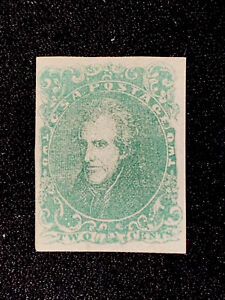 Confederate Stamps Scott # 3 A3 Green VF Condition, Lightly Hinged, Unused.