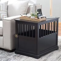 Large Indoor Wood Dog Pet Crate End Table Black Living Room Bedroom