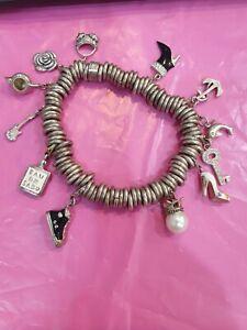 Heavy Multi Link Sweetie Style Charm Bracelet 12 x 925 Silver charms