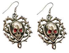 Skull In Vine Pewter Earrings with Red Eye Gems Skeleton Head Gothic Jewelry