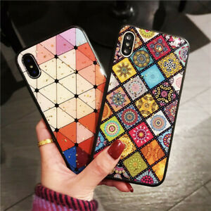 Glitte Patterned Bling Protective Silicone Soft TPU + PC Back Case Lot Cover
