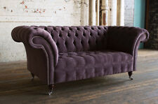 MODERN HANDMADE 2 SEATER VELVET AUBERGINE CHESTERFIELD SOFA COUCH CHAIR