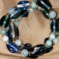 Memory Wire Wrap Bracelet With Light & Dk Blue Color Toned Glass Beads Handmade