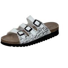 Softwaves Damen Schuhe Hausschuhe Lederfußbett Pantoffeln weiß 275-49 Schnalle