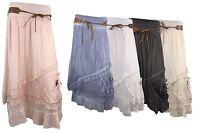 Catch One New Ladies Womens Lace Layered Cotton Gypsy Belted Long Maxi Skirt