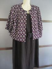 Jessica Howard Dress and Jacket 2 Pc Set Sz 18W Black Purple White Jeweled