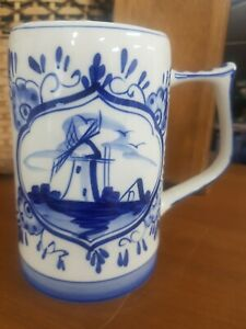 Delfts Blue & White Large Stein 13cms Hand Painted in Holland Dutch