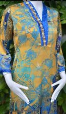 Pakistani Designer Printed Silk Kurti Women Top S, M